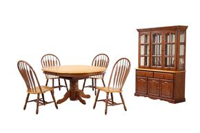 Sunset Oak Selections Collection DLU-TBX4866-4130-22BHNLO7PC 7-Piece Dining Room Set with Pedestal Dining Table, 4x Side Chairs and China Cabinet in Nutmeg with Light Oak Finish