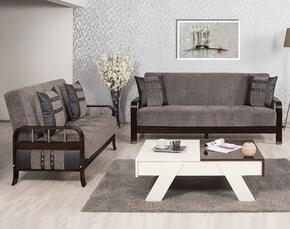 Studio NYC SNSBLSFGY  Package Containing Sofa Bed and Convertible Love Seat with Wooden Frame, Stainless Steel Accents and Tufted Detailing in Flocket Gray