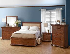 Geneva Hills Collection 680QPBDMNC 5-Piece Bedroom Set with Queen Bed, Dresser, Mirror, Nightstand and Chest in Rich Brown