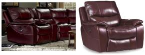 SS624 2-Piece Living Room Set with Power Motion Sofa and Glider Recliner in Red Wine with Black Trim