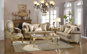 Valencia 658-S-L-C 3 Piece Living Room Set with Sofa + Loveseat and Chair in Rich Gold