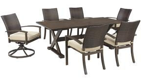 Moresdale Collection P4576256S 7-Piece Outdoor Patio Set with Dining Table + 4 Side Chairs + 2 Swivel Chairs in Beige and Brown