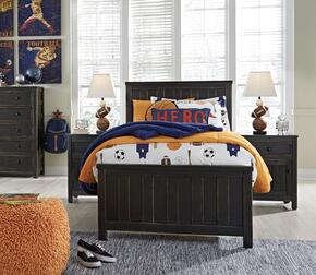 Jaysom Twin Bedroom Set with Panel Bed, and Nightstand in Black