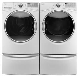 "White Front Load Laundry Pair with WFW92HEFW 27"" Washer, WGD92HEFW 27"" Gas Dryer and 2 XHPC155XW Pedestals"