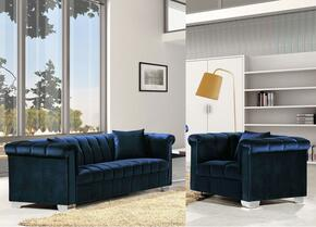 Kayla Collection 6152PCARMKIT1 2-Piece Living Room Sets with Stationary Sofa, and Living Room Chair in Navy