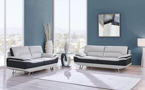 U7330-R6U6-SL 2-Piece Living Room Set with Sofa and Loveseat in Natalie Light Grey and Dark Grey