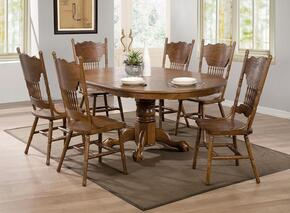 Brooks 104270SET 7 PC Dining Room Set with Table + 6 Side Chairs in Oak Finish