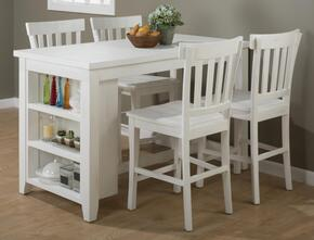 Madaket Collection 64760SET 5 PC Bar Table Set with Counter Height Table + 4 Bar Stools in White Finish