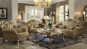 Dresden 53160SLCT 6 PC Living Room Set with Sofa + Loveseat + Chair + Coffee Table + 2 End Tables in Gold Patina Finish