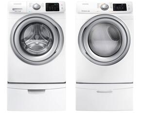 "White Front Load Laundry Pair with WF42H5200AW 27"" Washer, DV42H5200GW 27"" Gas Dryer and 2 WE357A0W Pedestals"