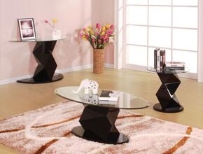 Taksha 81365CSE 3 PC Living Room Table Set with Coffee Table + End Table + Sofa Table in Black Color