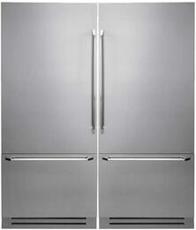 "Discovery Stainless Steel Refrigerator Set with DYF36BFBSL 36"" Left Hinge Bottom Freezer Refrigerator, DYF36BFBSR 36"" Right Hinge Bottom Freezer Refrigerator and ATKDYFCSI Interior Connecting Trim Kit"