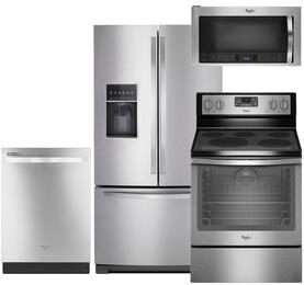 "4-Piece Stainless Steel Kitchen Package with WRF757SDEM 36"" French Door Refrigerator, WFE540H0ES 30"" Freestanding Electric Range, WDT720PADM 24"" Fully Integrated Dishwasher and WMH73521CS 30"" Over the Range Microwave"
