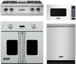 "4-Piece Stainless Steel Kitchen Package with VRT5304BSS 30"" Gas Cooktop, VSOF730SS 30"" Electric Single Wall Oven, VMOS201SS 24"" Countertop Microwave with 27"" Trim Kit, and FDW302WS 24"" Fully Integrated Dishwasher"