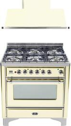 "2-Piece Antique White Kitchen Package with UM906DVGGAX 36"" Freestanding Gas Range (Chrome Trim, 6 Burners, Timer) and UAM90A 36"" Wall Mount Range Hood"