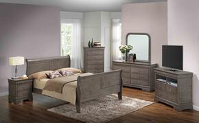 G3105AKBSET 6 PC Bedroom Set with King Size Sleigh Bed + Dresser + Mirror + Chest + Nightstand + Media Chest in Grey Finish