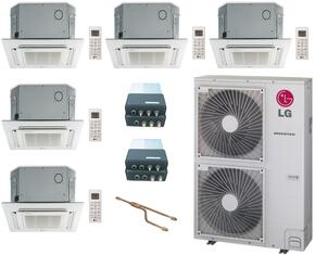 LMU480HVKIT131 5-Zone Mini Split Air Conditioner System with 50000 BTU Cooling Capacity, 5 Indoor Units, Outdoor Unit, Distribution Box, Y-Branch, and 5 Grille Kits