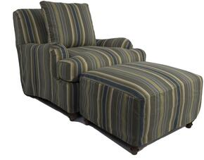 Seacoast Collection SU-116420-30-420045 Slipcovered Chair and Ottoman in Nantucket Stripe