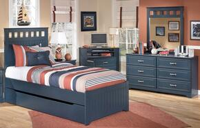 Jamarion Collection Full Bedroom Set with Panel Bed, Dresser and Mirror in Blue