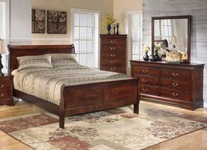Huerta Collection King Bedroom Set with Sleigh Bed, Dresser, Mirror and Chest in Dark Brown