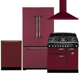 "Legacy 4-Piece Cranberry Kitchen Package with AMLFDR23CRN 36"" French Door Refrigerator, ALEG36DFCRN 36"" Freestanding Dual Fuel Range, ALTTDWCRN 24"" Fully Integrated Dishwasher and AMCHD36CRN 36"" Wall Mount Canopy Chimney Range Hood"