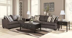 Levon 73403QSSLCTETCETR2L 8-Piece Living Room Set with Queen Sofa Sleeper, Loveseat, Cocktail Table, End Table, Chair Side End Table, Rug and 2 Lamps in Charcoal