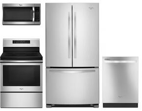"""4 Piece Kitchen Package With WFE520S0FS 30"""" Electric Range, WMH32519FS Over the Range Microwave Oven, WRF535SMBM 36"""" French Door Refrigerator and WDT720PADM 24"""" Built In dishwasher In Stainless Steel"""