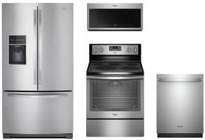 "4-Piece Stainless Steel Kitchen Package with WRF757SDEM 36"" French Door Refrigerator, WFE540H0ES 30"" Freestanding Electric Range, WMH75021HZ 30"" Over the Range Microwave, and WDT730PAHZ 24"" Fully Integrated Dishwasher"