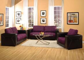 Brayden Collection 51680SLCT 6 PC Living Room Set with Sofa + Loveseat + Chair + 3 PC Table Set in Purple and Black Color