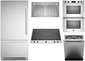 "5-Piece Stainless Steel Kitchen Package with REF36PIXL 36"" Bottom Mount Refrigerator, PM360IGX 36"" Smooth Cooktop, MASFD30XV 30"" Double Wall Oven, KIN36PROX 36"" Cabinet Insert Hood, and DW24XT 24"" Fully Integrated Dishwasher"
