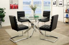 Yasmin Collection CM3381T4BSC 5-Piece Dining Room Set with Round Table and 4 Black Side Chairs in Chrome Finish