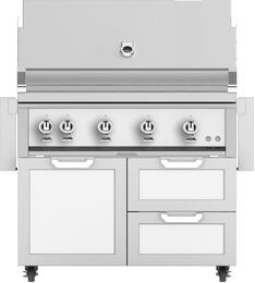 """42"""" Freestanding Natural Gas Grill with GCR42WH Tower Grill Cart with Double Drawer and Door Combo, in Froth White"""