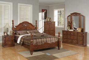 Ponderosa Collection 01717EK5PC Bedroom Set with Eastern King Size Bed + Dresser + Mirror + Chest + Nightstand in Walnut Finish