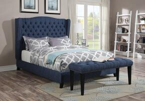 Faye Collection 20877EKB 2 PC Bedroom Set with King Size Bed + Bench in Blue Color