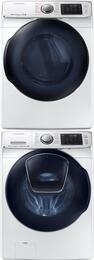 "White Front Load Laundry Pair with WF50K7500AW 27"" Washer, DV50K7500EW 27"" Electric Dryer and SKK7A Stacking Kit"
