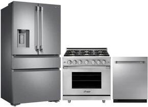 "3-Piece Stainless Steel Kitchen Package with DRF36C100SR 36"" French Door Refrigerator, RNRP36GSLPH 36"" Freestanding Gas Range, and DDW24M999US 24"" Fully Integrated Dishwasher"