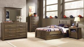 Juararo Twin Bedroom Set with Panel Storage Bed, Dresser, Mirror, Chest and 2 Nightstands in Dark Brown