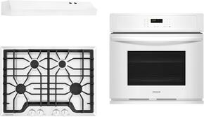 "Frigidaire Gallery 3-Piece Kitchen Package With FGGC3045QW 30"" Gas Cooktop, FGEW3065PW 30"" Electric Single Wall Oven and FHWC3025MW 30"" Under Cabinet Convertible Hood in White"