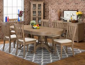 941-96TBKSET7 Slater Mill Double Pedestal Dining Table with 6 Slatback Side Chairs