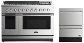 """2 Piece Stainless Steel Kitchen Package With RDV2486GLN 48"""" Gas Freestanding Range and DD24DV2T7 24"""" Drawers Dishwasher"""