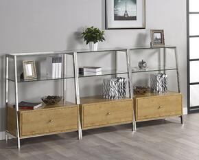 "Geo LB-GEO-K-BS42X3B Bookcase Wall Set with Three 42"" Tall Bookcases in Chrome Finish"
