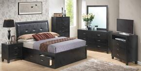 G1250BKSBNTV 3 Piece Set including King Size Storage Bed, Nightstand and Media Chest in Black