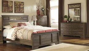 Krueger Collection Queen Bedroom Set with Panel Bed with Dresser and Mirror in Aged Brown