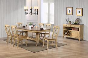 Brook Collection DLU-BR4296-C50-SRPW10PC 10-Piece Dining Room Set with Double Pedestal Extension Dining Table, 8 Side Chairs and Server