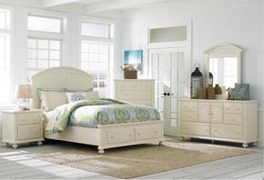 Seabrooke 4471KSBNDM 4-Piece Bedroom Set with King Storage Bed, Nightstand, Door Dresser and Mirror in Cream Finish