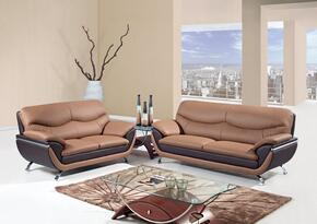 U2106-SLC 3 Piece Two-Toned Bonded Leather Living Room Set in Brown, Sofa + Loveseat + Chair