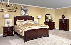 Elaina 4640KPBNCDM 5-Piece Bedroom Set with King Panel Bed, Nightstand, Chest, Dresser and Mirror in Rustic Cherry Finish
