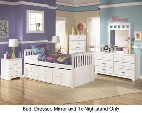 Lulu Twin Bedroom Set with Trundle Bed, Dresser, Mirror and Single Nightstand in White