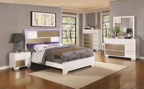 Havering Collection 204741KW California King Bed, Night Stand, Dresser and Mirror in Blanco & Sterling Finish