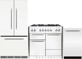"3-Piece White Kitchen Package with MMCFDR23WHT 36"" French Door Refrigerator, AMC48DFWHT 48"" Freestanding Dual Fuel Range, and AMCTTDWWHT 24"" Fully Integrated Dishwasher"